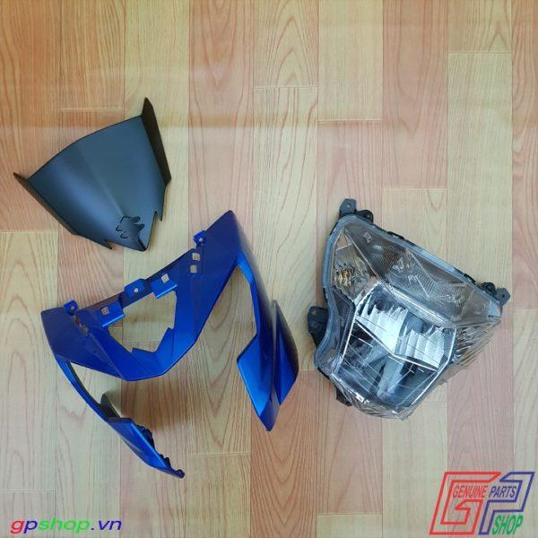 Đầu đèn Satria F150 Fi xanh gp