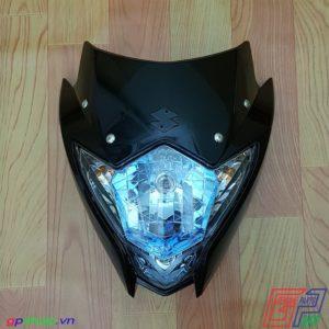 Đầu đèn Satria F150 Fu nhựa đen chóa xanh