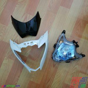 Đầu đèn Satria F150 Fu nhựa trắng chóa xanh