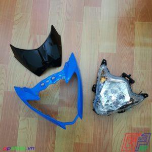 Đầu đèn Satria F150 Fu nhựa xanh chóa trắng