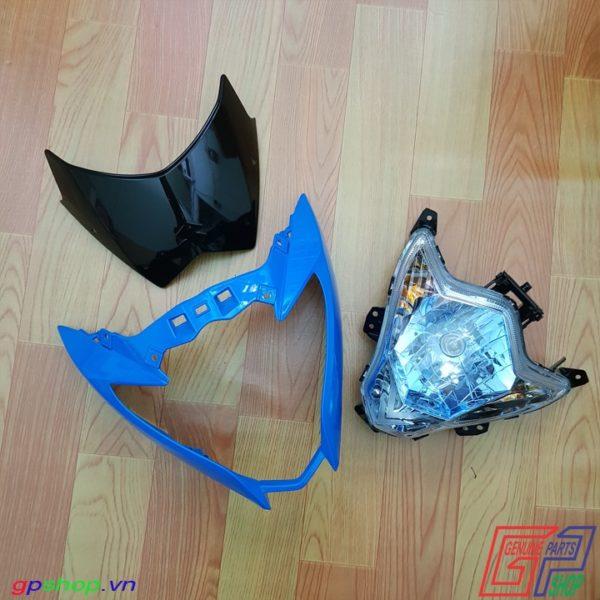 Đầu đèn Satria F150 Fu nhựa xanh chóa xanh