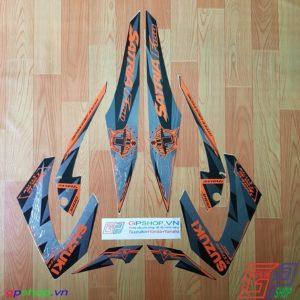 Tem Satria F150 Fu 2013 đen cam