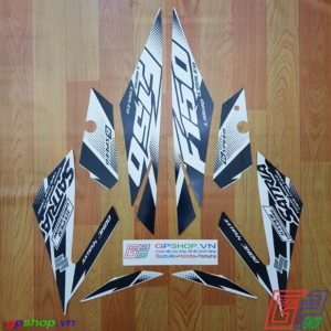 Tem Satria F150 Fi 2018 trắng đen