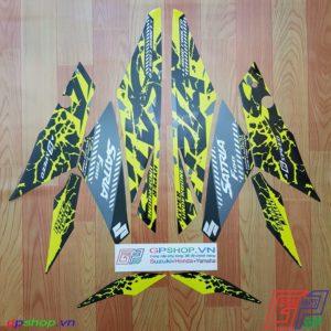 Tem Satria F150 Fi 2019 vàng đen