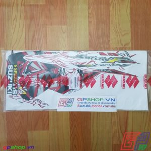 Tem Satria F150 Fu 2011 trắng đỏ - Tem cô gái