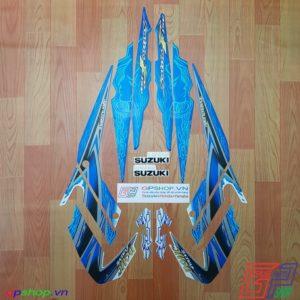 Tem Satria F150 Fu 2011 xanh - Tem cô gái