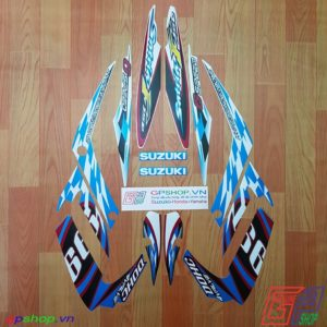 Tem Satria F150 Fu 2012 trắng xanh