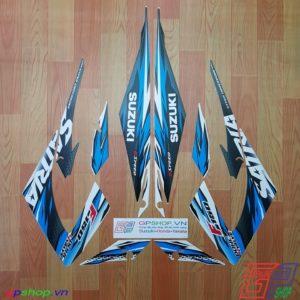 Tem Satria F150 Fu 2013 xanh trắng