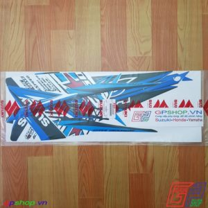 Tem Satria F150 Fu 2014 xanh trắng