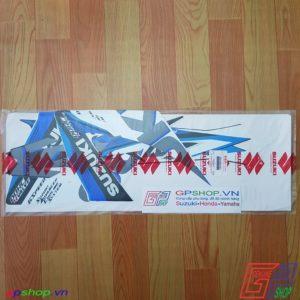 Tem Satria F150 Fu 2015 xanh trắng