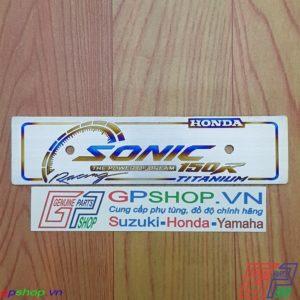 Biển tên chữ SONIC bằng titan. Biên tên titan chữ Sonic được làm từ chất liệu titan. Gia công khác chữ và lên màu | GPSHOP.VN - 0919778081