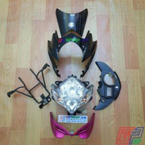 Đầu đèn Satria 150 mắt phượng hồng đen. Đầu đèn Satria 150 2012 hồng đen. Đầu đèn lớn mắt phượng. Đầu đèn Belang 150 | GPSHOP.VN - 0919778081