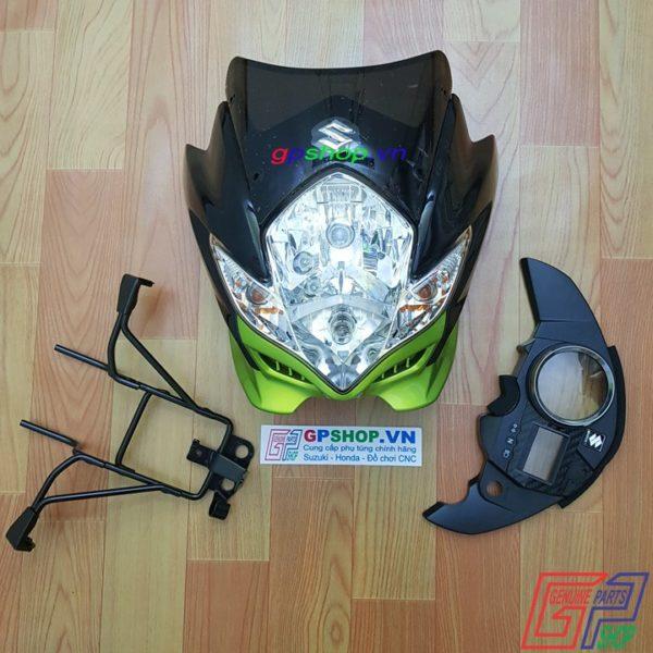 Đầu đèn Satria 150 mắt phượng xanh kawa, đầu đèn Satria 150 2012 xanh kawa, đầu đèn lớn mắt phượng, đầu đèn belang | GPSHOP.VN - 0919778081