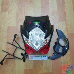 Đầu đèn Satria 150 mắt phượng đen đỏ, đầu đèn Satria 150 đen đỏ, đầu đèn lớn mắt phượng. Đầu đèn Belang 150 | GPSHOP.VN - 0919778081