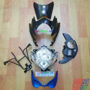 Đầu đèn Satria 150 mắt phượng đen xanh, đầu đèn Satria 150 đen xanh, đầu đèn lớn mắt phượng. Đầu đèn Belang 150 | GPSHOP.VN - 0919778081